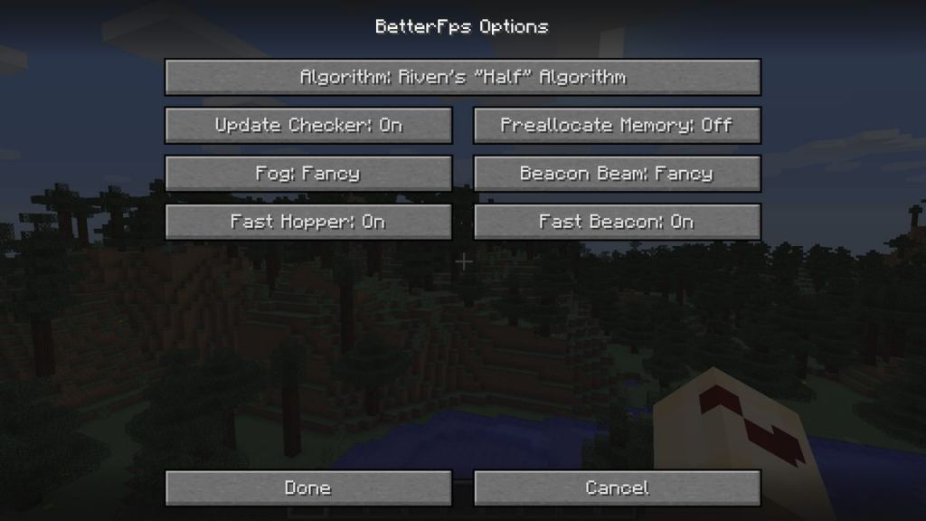 BetterFPS mod for Minecraft