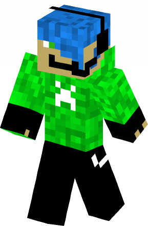 Green Creeper Hoodie With Blue Hair skin