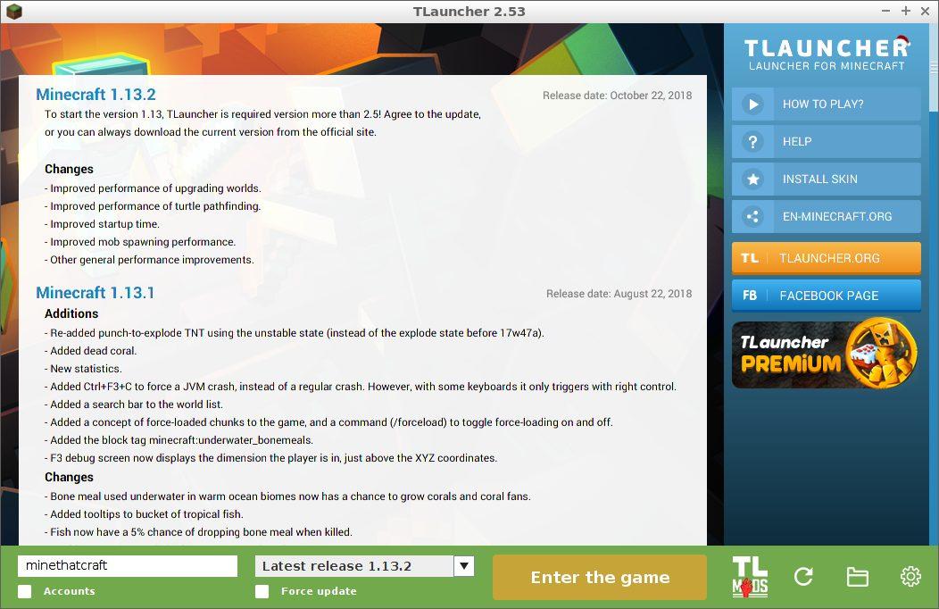 TLauncher screenshot for launching Minecraft game